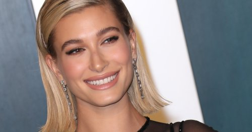 Hailey Bieber's Long-Sleeve Naked Mini Dress Is The Perfect Going-Out Look