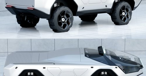 This concept all-terrain truck looks like a Tesla Cybertruck destined for Mars