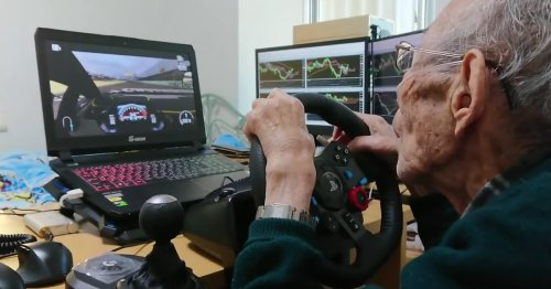 This 93-year-old man driving his old car in a video game is too pure for this world