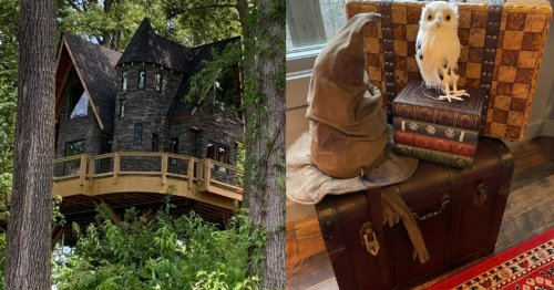 Stay At This 'Harry Potter' Treehouse Airbnb With A Sorting Hat & Magical Decor