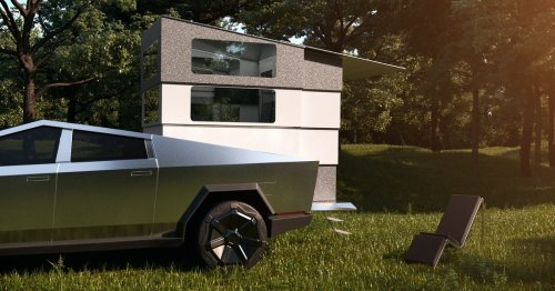 This Cybertruck camper morphs into a kitchen and full-on bathroom