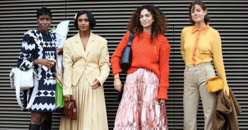 London Fashion Week's Street Style Crowd Wore Cottagecore, Neon, & Tailoring