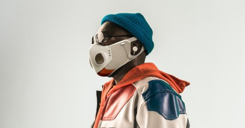 Will.i.am's superhero-inspired mask has air filters, earbuds, and LED lights