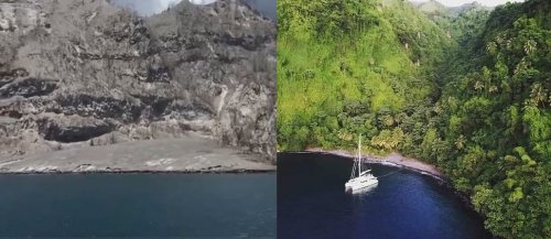 Before and after photos show SVG's transformation due to volcanic ash