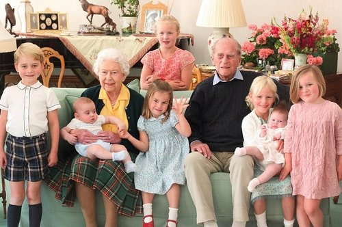 Newly Released Photos Show Prince Philip And The Queen Surrounded By Their Great-Grandchildren