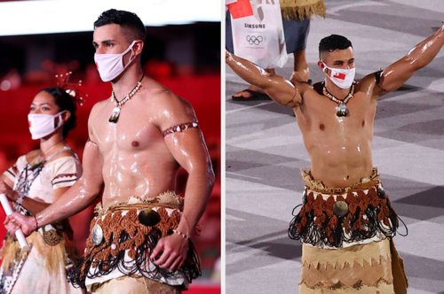 Literally Just Photos Of Tonga's Hot Flag Bearer At The Tokyo Olympics Because Let's Not Kid Ourselves Here, Folks