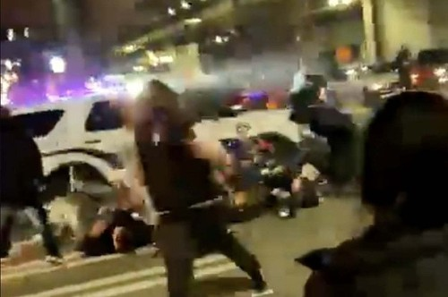 A Police Car Rammed Through A Crowd And Drove Over At Least One Person