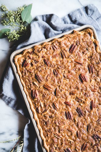 An Easy Chocolate Slab Pecan Pie to Feed a Crowd