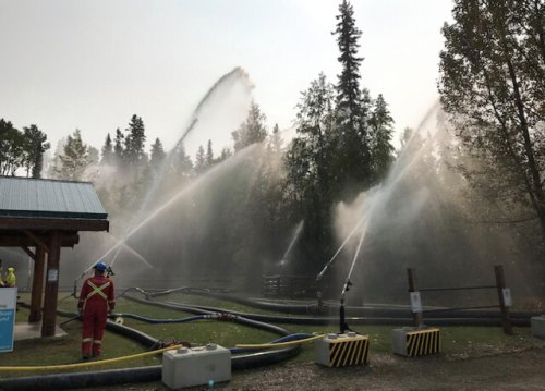Safeguard in in the Okanagan and is ready to deploy massive water curtain to fight forest fires (Vernon)