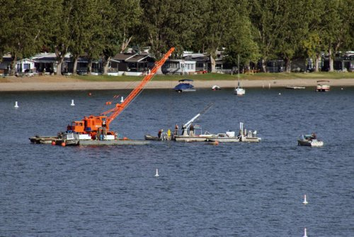 Recovery of a barge which sunk in Gellatly Bay is underway (West Kelowna)
