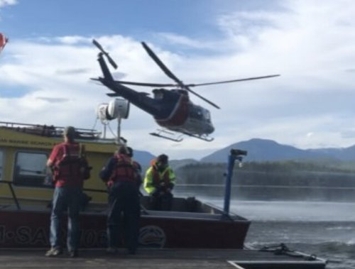 Medevac helicopter rescue at cabin on Seymour Arm (Salmon Arm)