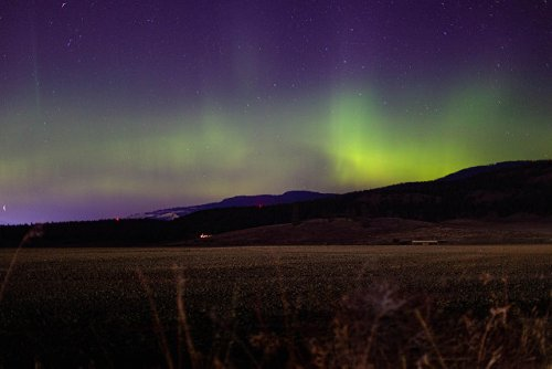The northern lights were visible above Kelowna Friday night