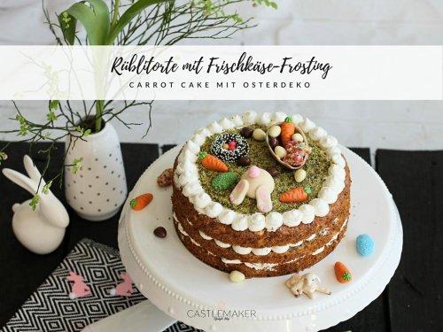 Carrot Cake / Rüblitorte mit Frischkäse-Frosting und süßer Osterdekoration