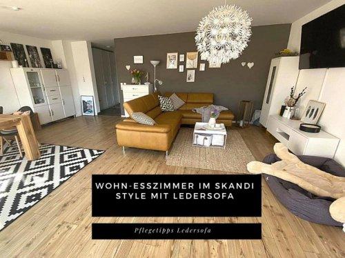 Wohnzimmer Ideen mit Ledersofa in kurkuma - Wohn-/Essbereich einrichten Skandi Home im RH « Castlemaker Food & Lifestyle Magazin