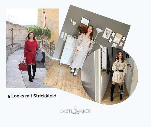 5 Looks mit Strickkleid ü40 und Naturkosmetik 8SAM