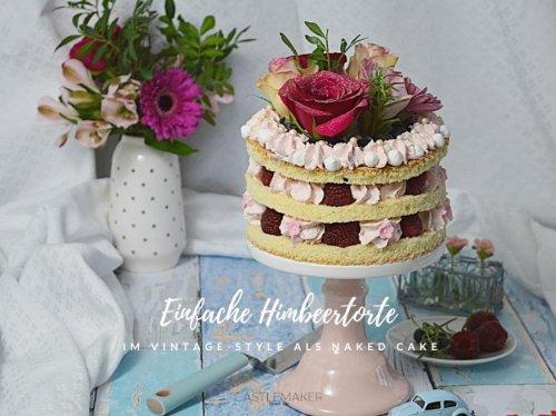 Super einfache Himbeertorte als naked cake mit echten Blumen - Vintage-Torte « Castlemaker Food & Lifestyle Magazin