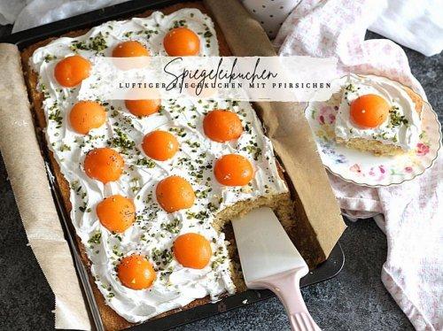 Super fluffiger Spiegeleikuchen vom Blech - Pfirsichkuchen mit Schmandcreme « Castlemaker Food & Lifestyle Magazin