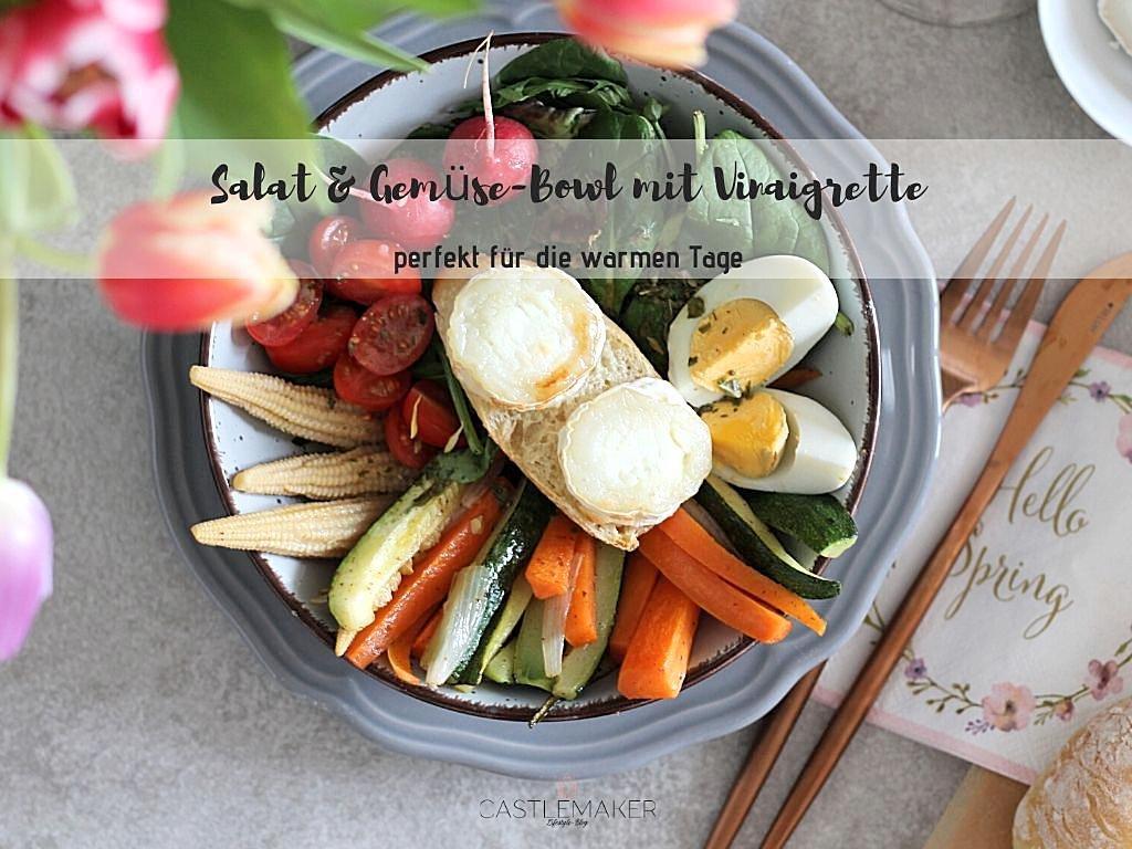 Knackige Gemüse & Salat-Bowl mit Vinaigrette- mega einfach & lecker