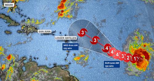 Hurricane Sam moving slowly across Atlantic as a Category 4 storm
