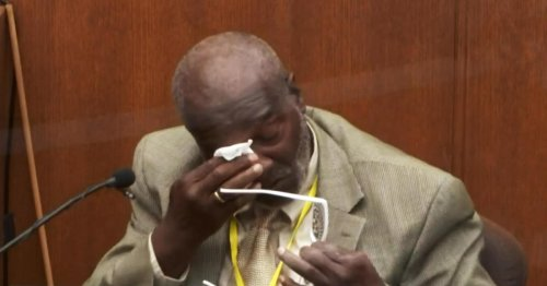 Witness sobs watching video of George Floyd struggling with officers in squad car