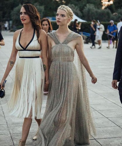 Anya Taylor-Joy Swooped in Like a Guardian Angel to Fix Cara Delevingne's Dress at the Dior Show in Athens