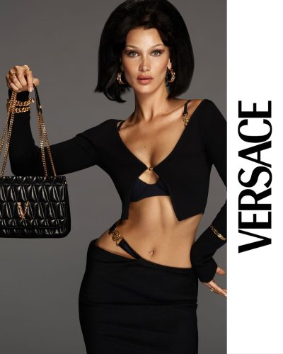 Bella Hadid Wears Her Signature Tiny Cardigan Look in Versace's Latest Campaign