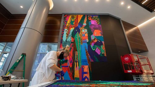 Large-scale art installation in Charlotte pays tribute to women and banking
