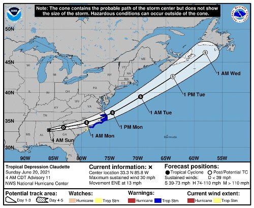 Tropical depression Claudette continues with heavy rain, possible floods in southeast region, NHC says