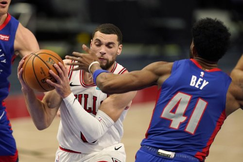Zach LaVine and Nikola Vučević combine for 59 points in the Chicago Bulls' 108-94 win over the Detroit Pistons