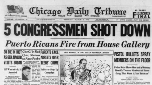 This day in history, March 1: 4 Puerto Rican nationalists open fire from the spectators' gallery of the U.S. House of Representatives, wounding five members of Congress