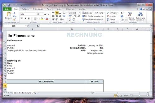 Office-Vorlagen: Rechnungen und Spesenabrechnungen