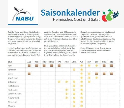 Saisonkalender (Heimisches Obst und Gemüse) - PDF