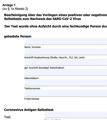Bescheinigung über einen absolvierten Corona-Selbsttest (PDF)