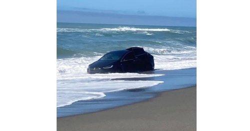 Musk sagte, Teslas könnten schwimmen: Fahrer versenkt sein E-Auto im Meer