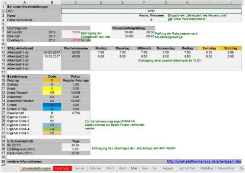 Arbeitszeiterfassung für Excel
