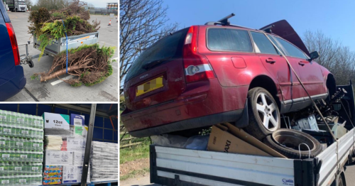 Drivers found with trees, drink cans and a car balanced precariously on vehicles