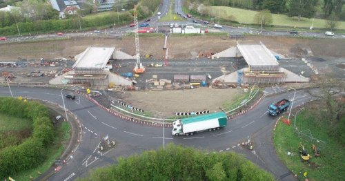 Timelapse video shows huge bridge decks being lifted into place on A69