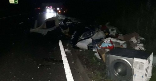Northumberland danger driver left A1 closed after homemade trailer shed its load