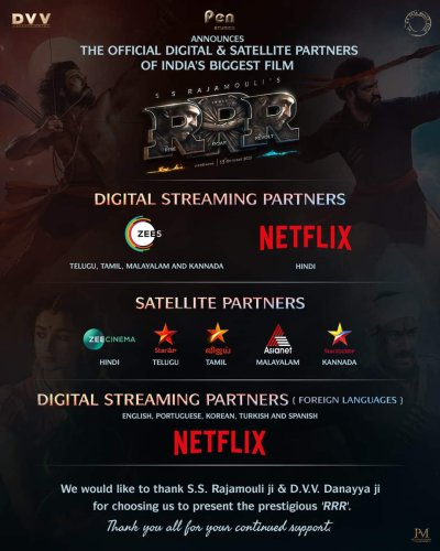 SS Rajamouli's RRR to have India's Biggest Post theatrical, Digital and Satellite release deal ever