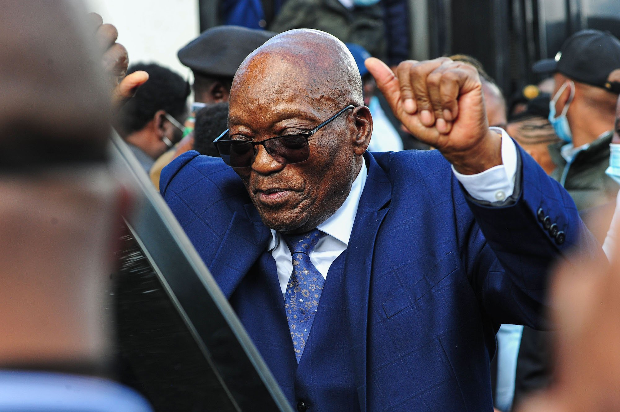 Zuma, surrounded by cops, should be the easiest man in the world to arrest
