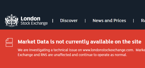 BREAKING: London Stock Exchange hit by technical issues, market data not available