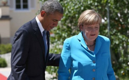 Leaders say 'danke schön' at Merkel's farewell party with surprise appearance from Obama