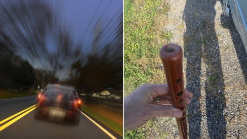 Police catch driver playing the flute with both hands at the wheel