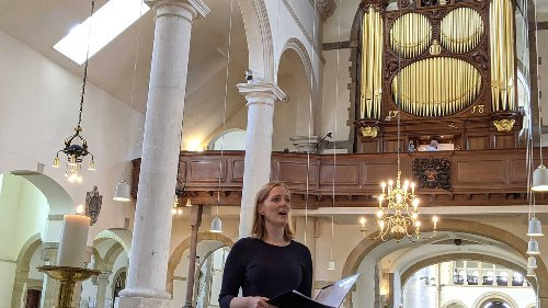 Soprano sings the Royal Navy's hymn in an empty Portsmouth Cathedral, in moving Duke of Edinburgh tribute
