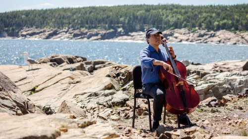 Yo-Yo Ma surprised passers-by in a picturesque national park, because music and nature are one.