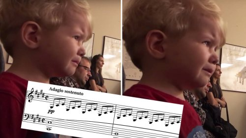 Toddler moved to tears hearing his sister play Beethoven's Moonlight Sonata on piano