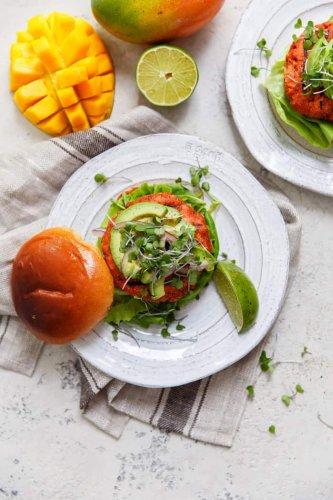 This Mango Jerk Salmon Burger Delivers *Big* Caribbean Flavor