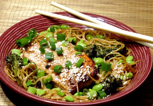 Ginger salmon with steamed noodle stir fry is a quick fix