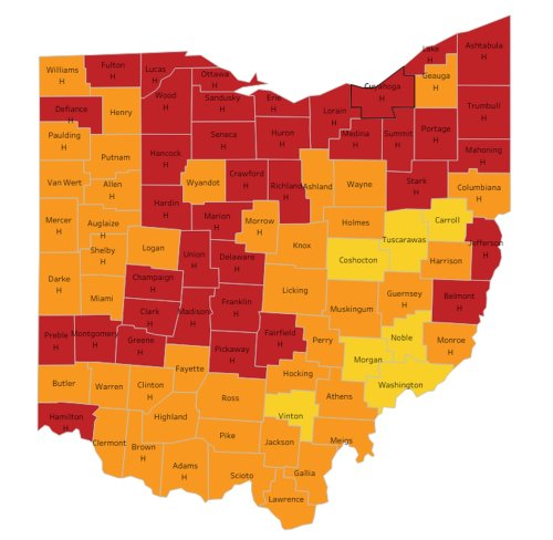 Fewer than half of Ohio's counties now on red alert for coronavirus; two-week rate drops to 140.2 per 100,000