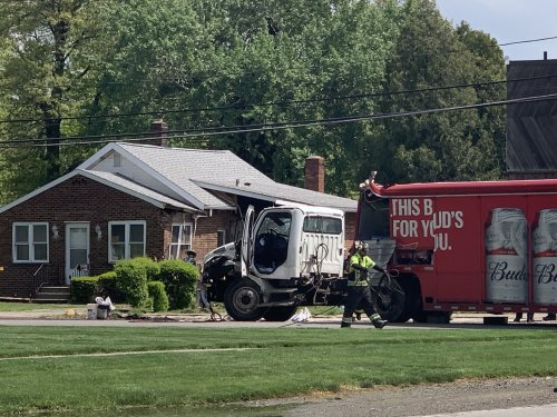 Budweiser beer truck crashes into Avon Lake home